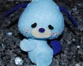 Floppy the Dog - Stuffed Felt Animal Magnet/Keychain/Ornament (Baby Blue/Dark Blue)