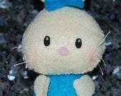 Momo the Bunny Rabbit - Stuffed Felt Animal Magnet/Keychain/Ornament (Cream/Blue)