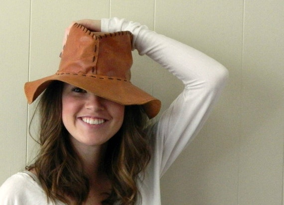 70s Leather Boho Hippie Floppy Hat ......No Secrets