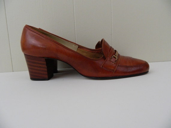 70s Cognac Leather Stacked Heel Mod Loafers .......  Size 7 ......... Ms. Peacock