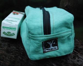 Travel Kit  for Toiletries or Art -Hemp Aqua Blue