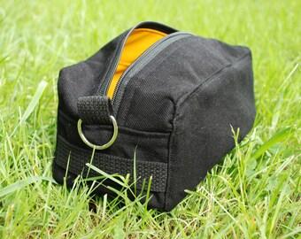 Dopp Kit Bag Toiletries Black Cotton