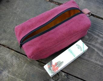 Dopp Kit  for Toiletries or Art -Hemp Cranberry