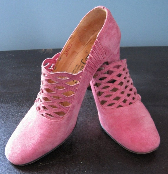 vintage pink suede italian shoes