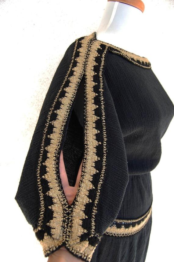 VINTAGE Tiered Black Gauze Crochet Patio DRESS S M