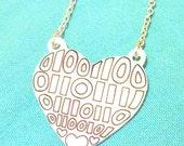 LOVE in Binary - Binary Heart Necklace - Valentines Geek Love...