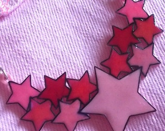 Star Cluster Necklace - Pretty Pink Stars... or choose your own colour...