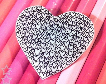 Heart Brooch - Bursting with Love - Black and White Hearts