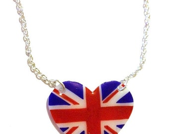 Union Jack Heart Necklace - Patriotic Flag Jewellery for London, UK, British Pride