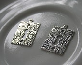 FREE US Shipping - Pair of Two Floral Vintage Lock Keyhole Charm Link Connector by Trinity Brass Company - DESTASH