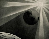 earth shadow vintage celestial print 1954
