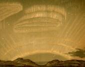 1889 polar lights original antique celestial astronomy print in ochre tone