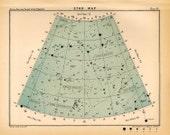 1910 star map arc 55 original antique print