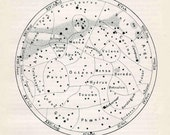 1903 constellations original antique astronomy print - southern hemisphere - antiqueprintstore