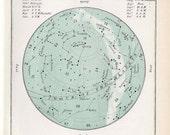 1910 february antique original star map celestial astronomy print