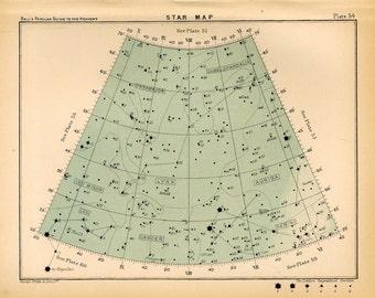 1910 star map arc 54 original antique print