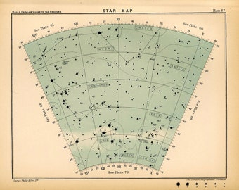 1910 star map arc 67 original antique print