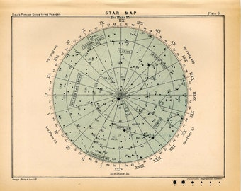 1910 star map 51 original antique celestial astronomy print