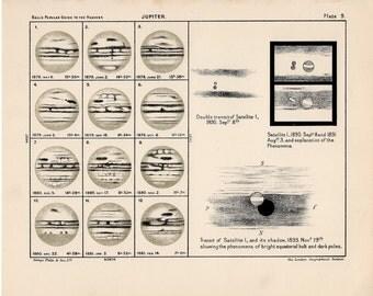1910 jupiter astronomy map original antique planet print