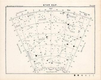 1892 STAR MAP LITHOGRAPH arc 64 original antique print