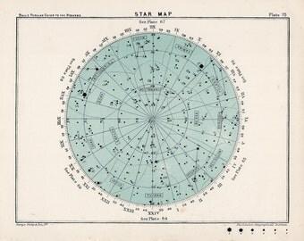 1910 star map 70 original antique celestial print