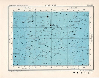 1955 star map 60 constellations original vintage celestial print rectangle