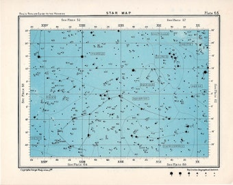 1955 star map 63 constellations original vintage celestial print rectangle