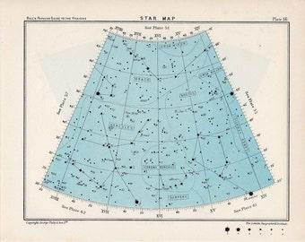 1955 star map arc 56 constellations original vintage celestial print