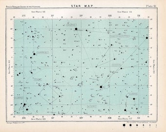 1910 STAR MAP LITHOGRAPH =  original antique print - celestial astronomy constellation chart  - map 61