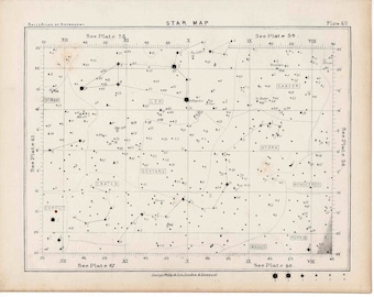 1892 STAR MAP LITHOGRAPH 60 astronomy antique print
