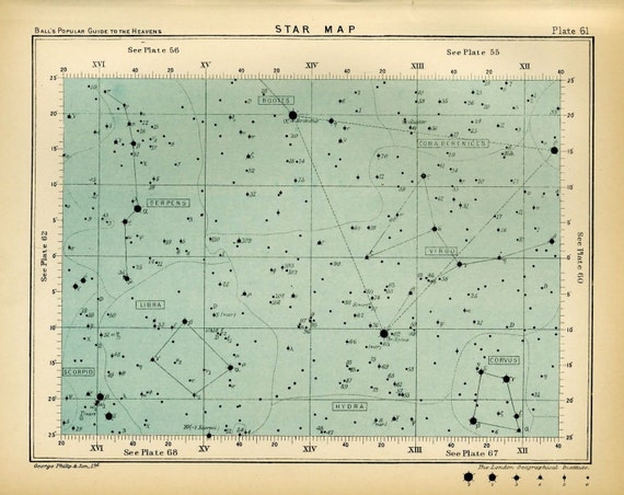 star map 61 astronomy antique print