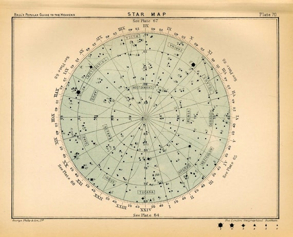 star map 70 original antique print