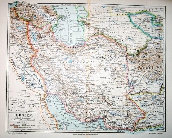 persia map original 1889 print