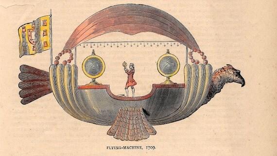 flying machine original 1881 english antique hand colored