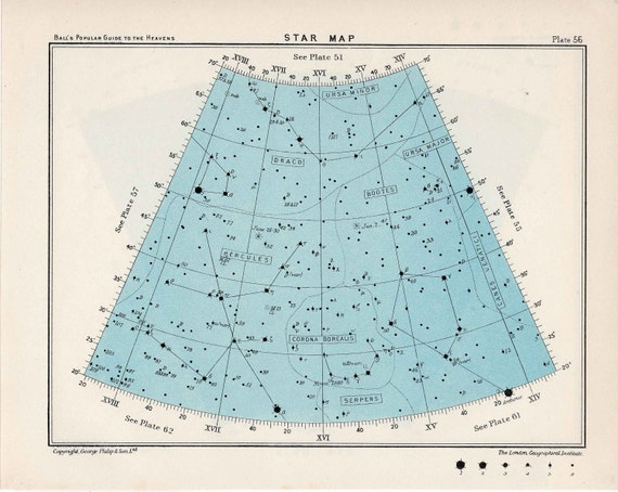 1955 star map arc 56 constellations original vintage celestial print