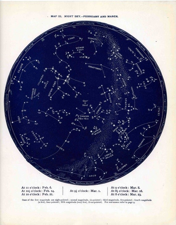 1887 february & march star map original antique celestial print of the month