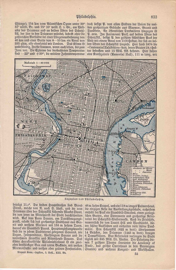 1889 philadelphia map original antique usa city print