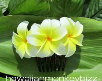 DOUBLE Curled-In Plumeria Foam HAIR COMB  -  Your Choice of 1 . . .