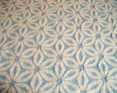 Vintage Chenille Bedspread Fabric Baby Blue and White Hofmann Daisy