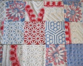 Vintage Chenille and Tablecloth Red White and Blue Quilt Cool Summer Nights