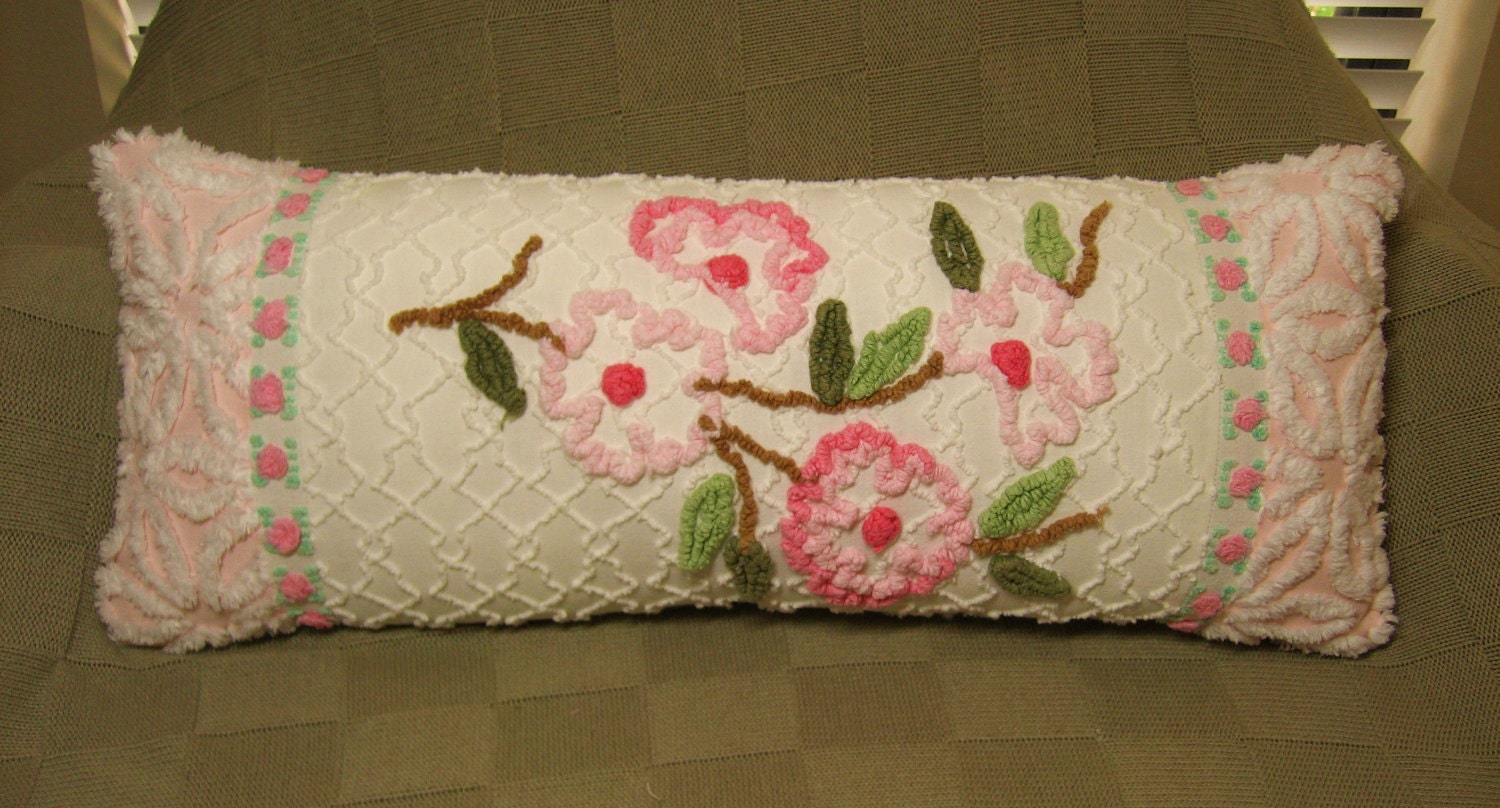 Shabby Chic Chenille Pillows : Vintage Chenille Shabby Chic Pillow Pink Dogwood Rosebud and