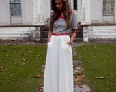 Navy, Red and White Long 1960s Sailor Dress