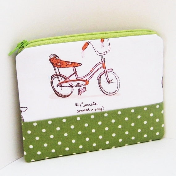 Small Zipper Pouch BIKES Heather Ross Fabric