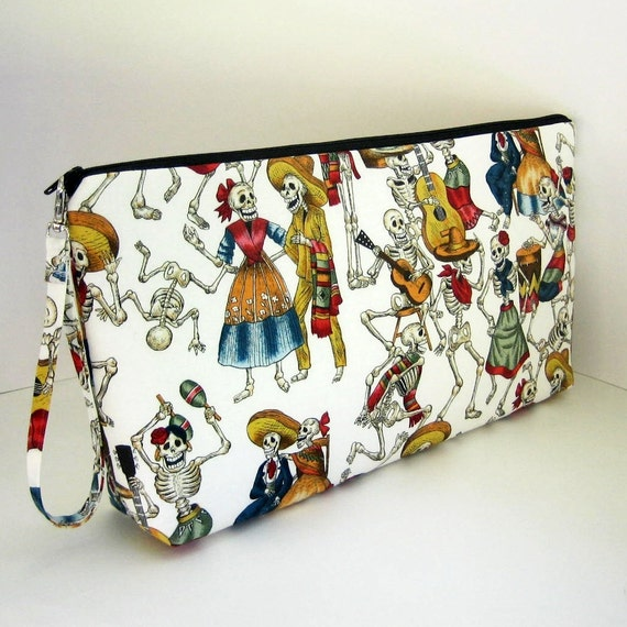 Large Zipper Pouch  FIESTA of the DEAD Project Bag