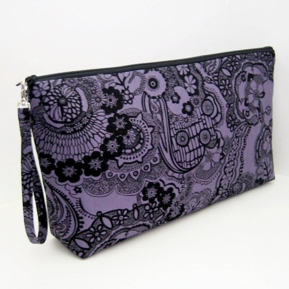 Project Bag Large Zippered Pouch ORCHID BLACK LACE