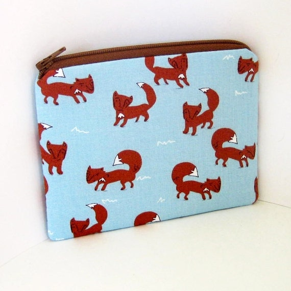 Small Zipper Pouch FOXES