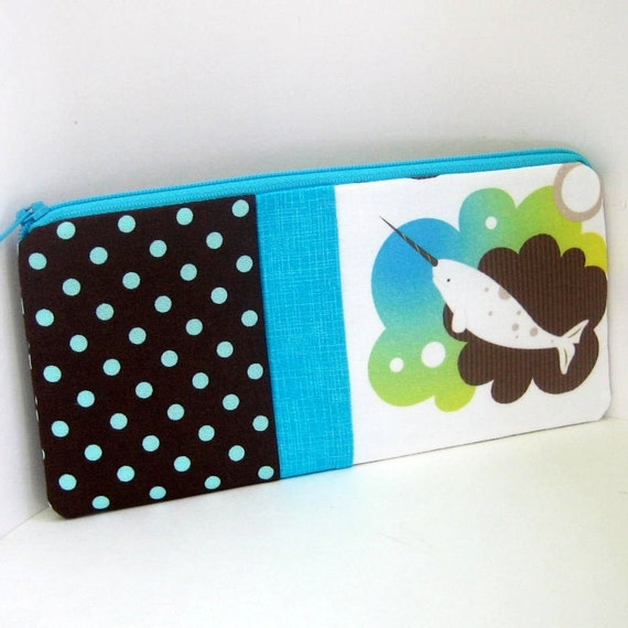 Long Zipper Pencil Pouch  NARWHAL
