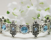 Blue Aquamarine Crystal Bracelet