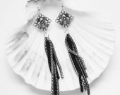 Long Silver Dangle Earrings - Antique Silver - Silver, Black, Grey Chain - MyGemstoneDesigns