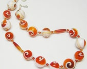 Sale Orange and White Shell Necklace - Unique Shell Necklace - Handmade Necklace - Gemstone Necklace - Chic Jewelry - OOAK